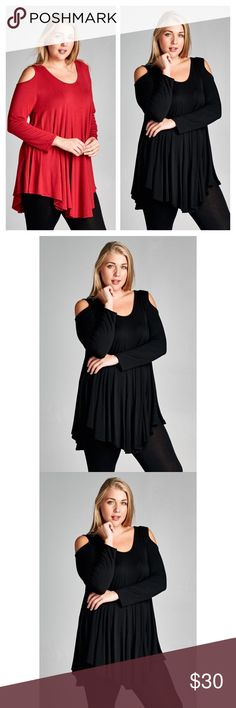 Arrives Soon- Plus Size Cold Should Tunic Top Chic and comfortable plus size cold shoulder cutout tunic top. Pair with leggings or skinnies. 95% soft and smooth Rayon, 5% Spandex. Made in the U.S.A. Available in sizes 1XL, 2XL, and 3XL. Brand new. Price is firm unless bundled. тнαик уσυ  Tops Tunics