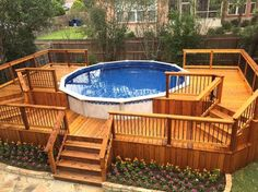 Check out some pictures of customer built decking (full decking) around there above ground pool! Here you can get an idea of what your backyard can become! #pooldeckideaspinterest