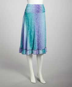Take a look at this Turquoise Mesh Ruched Skirt by Zashi on #zulily today!