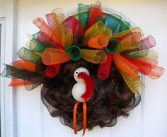 Turkey Deco Mesh wreath.  Wreaths by Rita.