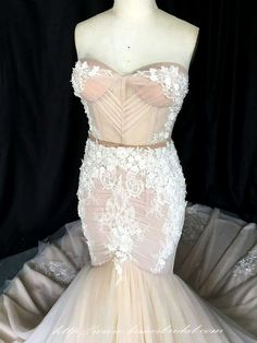 Nude and White French Lace Mermaid Wedding Dress with Sweetheart Neckline and Bling Details L'Amei 2017 by LAmei on Etsy