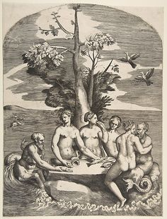Giulio Bonasone (Italian, 1531–after 1576). Feast of the Sea Gods, 16th century. The Metropolitan Museum of Art, New York. The Elisha Whittelsey Collection, The Elisha Whittelsey Fund, 1959 (59.595.14)