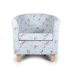 Crafted from cotton with light hardwood legs, this easy to assemble tub chair features a bird and blossom print on a soft duck-egg blue background. Duck Egg Blue Fabric, Pretty Bedroom, New Furniture, Soft Furnishings, Tub Chair, Beautiful Birds, Home Accessories, Home Goods, Accent Chairs