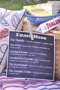 Fun idea for a s'mores station! Gourmet S'more Recipes via Your Homebased Mom Outdoor Entertaining Decor, Glamping ideas, Camping Camping Parties, Picnic Parties, Camping Theme, Fresco, S'mores Bar, Backyard Bbq, Party Planning, Decoration, Party Time