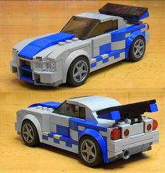 Lego Nissan Skyline from fast and Furious 2 Lego Cars, Lego Truck, Lego Auto, Nissan Skyline, Legos, Easy Lego Creations, Technique Lego, Lego Wheels, Lego Bedroom
