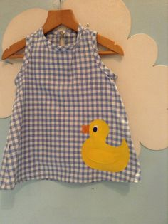Duck Pinafore Dress Quack by sastirosielife on Etsy Pinafore Dress, Gingham, Applique, Cotton, Shopping, Etsy, Dresses, Tops, Products