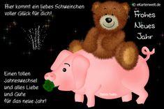 Hier kommt ein liebes Schweinchen voller Glück für dich! Einen tollen Jahreswechsel und alles Liebe und Gute für das neue Jahr! Animierte eCard zu Silvester