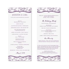 Wedding Program Template - Exquisite Vines (Eggplant & Silver) Tea ...
