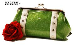 Lime Green Sparkle Clutch  Green Glitter Bag  by HOLDFASThandbags
