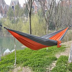 OuterEQ Portable Parachute Nylon Fabric Travel Camping Hammock Grey & Orange