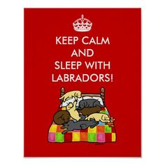 Keep Calm and Sleep with Labradors!  Funny quote poster for Labrador Retriever fans. :)  #keepcalm #Labrador #LabradorRetriever
