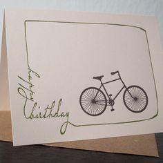 Birthday Bike - Letterpress Printed Birthday Card on Etsy, $3.50