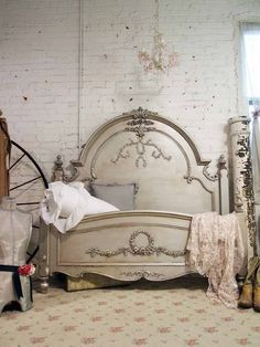 Painted Cottage Romance Shabby Silver Slipper Queen Bed. $1,195.00, via Etsy.