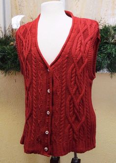 75ef434b9a Eddie Bauer Holiday Red Cable Knit Sweater Vest M Multi Cute Party Fun  Jeans  EddieBauer