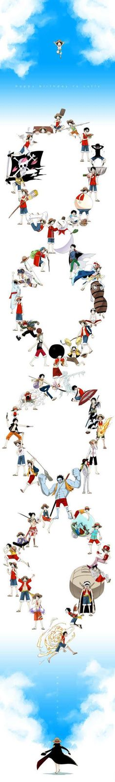 One piece __-_--- All the different Luffy's over the course of the show