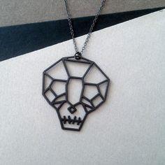 skull necklace, skull jewelry, geometric skull necklace, sugarskull jewelry - £44.57 GBP