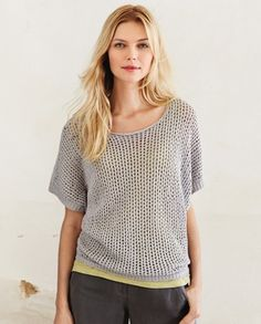 Poetry - Chunky Stitch Knitted Sweater - In a pure cotton chunky yarn, this short sleeve sweater is a great transitional layering piece. Relaxed styling with a loose open-stitch front panel and dropped shoulder short-sleeves, available in four summer shades. 100% cotton