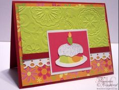 Use scraps of colourful paper to crate this card.