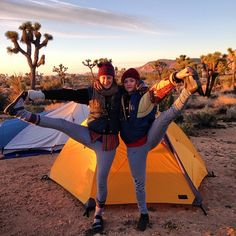 """@brighteyes41187's photo: """"#tbt Monday night camping in Joshua Tree in our twin #kathmandu long johns (thank you Andrew for letting Leslie borrow them for the night!) with my #kathmandu tent opened for the first time since New Zealand 6 years ago. There was still some New Zealand dirt tucked away! #yogaeverydamnday @Leslie Schott @kathmandu_live"""""""