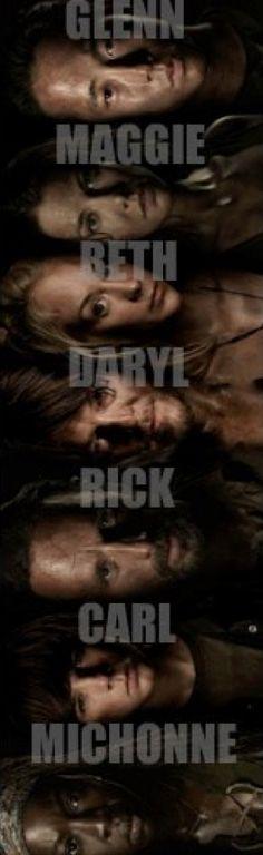 Glenn ~ Maggie ~ Beth ~ Daryl ~ Rick ~ Carl ~ Michonne. The Walking Dead