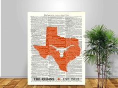 Texas art, personalized gift, longhorns silhouette, Texas Map Art Print, Texan old dictionary page, Texas decor,  family established sign by DigiMarthe on Etsy