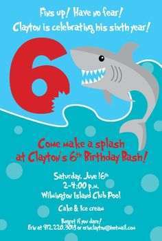 Shark birthday party invitation order your personalized birthday shark swimming birthday party filmwisefo Images