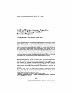 Incidental Foreign-Language Acquisition by Children Watching Subtitled Television Programs - Springer