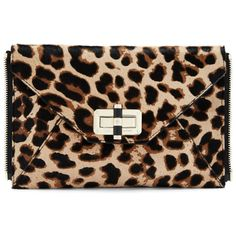 Diane von Furstenberg Agent Jacqueline Leopard Haircalf Zip On Clutch ($198) ❤ liked on Polyvore featuring bags, handbags, clutches, leopard, zippered tote, calf hair tote, leopard print tote bag, zippered tote bag and leopard calf hair handbag