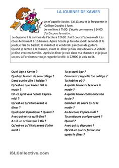 La journée de Xavier French Language Lessons, French Language Learning, French Lessons, French Teaching Resources, Teaching French, French Adjectives, French Worksheets, French Online, Reading Comprehension Activities
