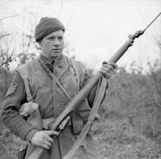 gt James S Dickinson, a section leader with No. 9 Commando at Anzio, equipped for a patrol with his a Lee Enfield No.4 Mk I rifle and fixed bayonet, 5 March 1944.          #wwii         #world war ii         #ww2         #world war 2         #world war two