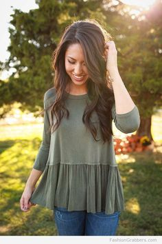 Jeans and olive top for fall #casualfalloutfits