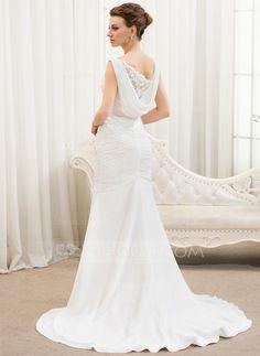 Trumpet/Mermaid V-neck Court Train Chiffon Tulle Wedding Dress With Ruffle Lace Beading Sequins (002054619) - JJsHouse