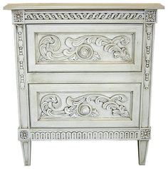 2 Drawer Highly Carved French Chest & Side Table (Antique Blue) traditional-dressers-chests-and-bedroom-armoires