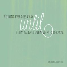"""""""Nothing ever goes away until it has taught us what we need to know."""""""