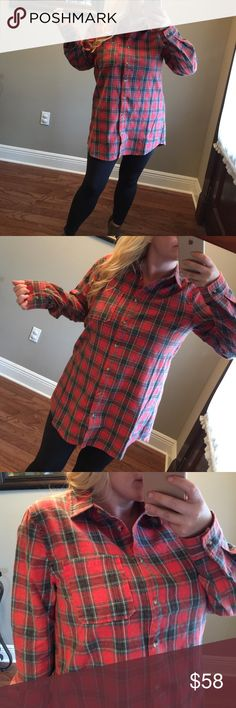 """🍀SALE - (LAST 2) Red mix long sleeve flannel There's nothing like an oversized flannel! ❤️Features a button up front and 1 open pocket. Button closed sleeves around the wrist so you can roll up the arms as needed. Made with a medium weight fabric that will keep you warm and cozy. 100% cotton. Modeling: M - I'm 5'4"""", 36D. Measurements listed below. Please use the """"buy now"""" or the """"add to bundle"""" feature to purchase. Tops Button Down Shirts"""