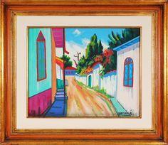 """INIMAR DE PAULA. """"Rua Estreita"""", óleo s/tela, 40 x 50 cm. Assinado  e datado,79 e intitulado e datado no verso. Emoldurado, 66 x 76 cm"""