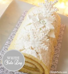 White Holiday Cake Roll with gorgeous snowflake decoration - Bird's Party Blog
