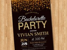 Bachelorette Party Invitation. Gold Glitter Bachelorette Invite, Hens Party. Black Chalkboard. Printable digital DIY. by arthomer on Etsy