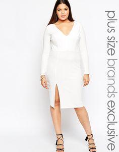 Plus Size Plunge Front Pencil Dress
