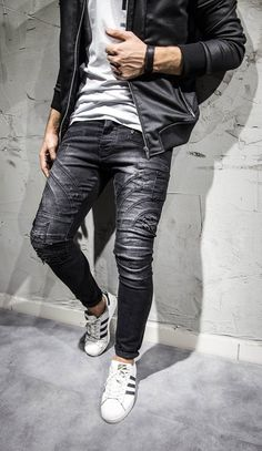 Mode Jeans, My Guy, Ripped Jeans, Dj, Leather Pants, Men's Fashion, Slim, Skinny, Guys