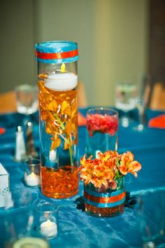 Centerpiece...change the turquoise to royal blue...