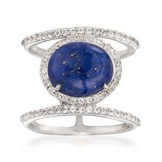 This open space ring is an on-trend look with a celestial sparkle. Here, .60 ct. t.w. of white topaz rounds twinkle along two rows and around a pyrite-flecked lapis center. Sterling silver ring. Free shipping & easy 30-day returns. Fabulous jewelry. Great prices. Since 1952.