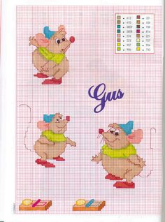 Disney Cinderella Gus Gus cross stitch