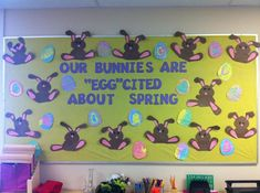 """Summer Bulletin Boards For Daycare Discover Our Bunnies Are """"Egg""""cited About Spring! - Spring Bulletin Board Check out this great post on MPM Ideas! Easter Bulletin Boards, Kindergarten Bulletin Boards, Class Bulletin Boards, In Kindergarten, April Bulletin Board Ideas, Bullentin Boards, April Preschool, Preschool Ideas, Teaching Ideas"""