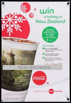Original Amc Coca-cola Coke The Hobbit 2 Sided Theatre Poster New Zealand Promo