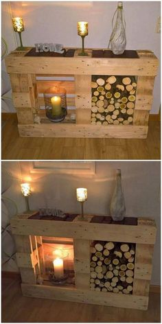 amazing pallet wooden diy idea - May 11 2019 at Wooden Pallet Furniture, Pallet Bench, Home Furniture, Wooden Crafts, Wooden Diy, How To Make Sofa, Wooden Fireplace, Fireplace Outdoor, Craft Ideas