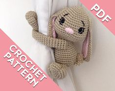 Bunny rabbit curtain tie back crochet PATTERN, tieback, left or right side crochet pattern PDF instant download amigurumi PATTERN