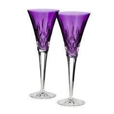 Waterford Purple Lismore Jewels Amethyst Toasting Flutes Set of 2 Purple Love, All Things Purple, Purple Glass, Shades Of Purple, Purple Stuff, Purple Peacock, Dark Purple, Waterford Lismore, Waterford Crystal