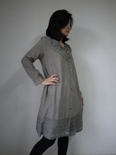 Artistic Fray - Hand Dyed Dusty Greenish Ash Grey Cotton Blend Viscose Long Sleeve Dress/Tunic/Top With Fray Frill And 2 Pockets. $45.00, via Etsy. I think I'll stop buying stuff at normal shops and stay with more unique stuff...