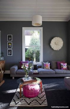 The living room is Talia's favourite space in the house, with walls painted in. The living room is Talia's favourite s. Paint Colors For Living Room, Living Room Grey, Room Colors, Living Room Decor, Living Rooms, Paint Colours, Dark Grey Carpet Living Room, Dark Carpet, Modern Carpet